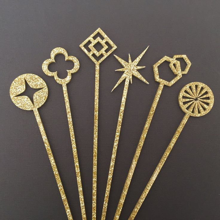 GEOMETRIC DRINK STIR STICKS in Glittery gold acrylic - Made in Palm Springs and sold by Bonjour Fete - A party supply boutique.