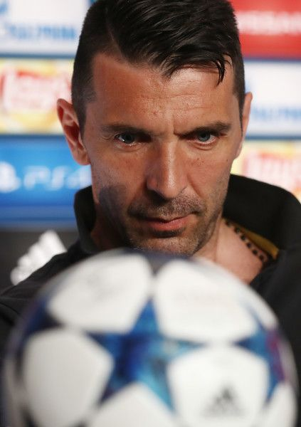 In this handout image provided by UEFA, Gianluigi Buffon of Juventus attends a press conference prior to the UEFA Champions League Final between Juventus and Real Madrid at the National Stadium of Wales on June 2, 2017 in Cardiff, Wales.