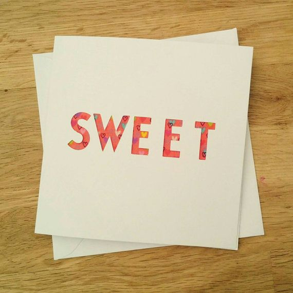 Handmade cut out sweet card with concealed fabric
