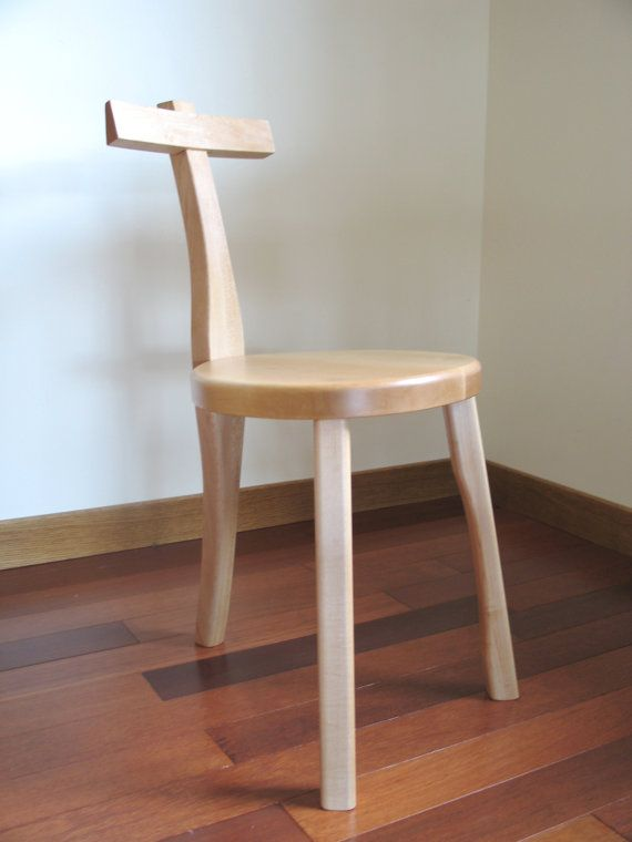 3 Legged Wood Chair  Guitar Stool  Maple by FolkAndFern on Etsy, $250.00