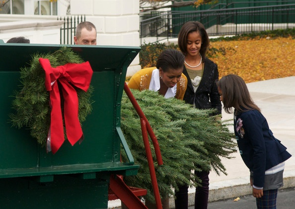 First lady, Michelle Obama and Sasha taken in the scent of the White House Christmas Tree Nov. 26, 2010.: White Houses, House Christmass, Obama Photo, President Obama