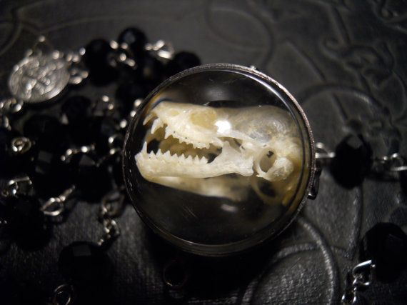 Bat Skull Ghost Orb Rosary Necklace by TheCuriositeer