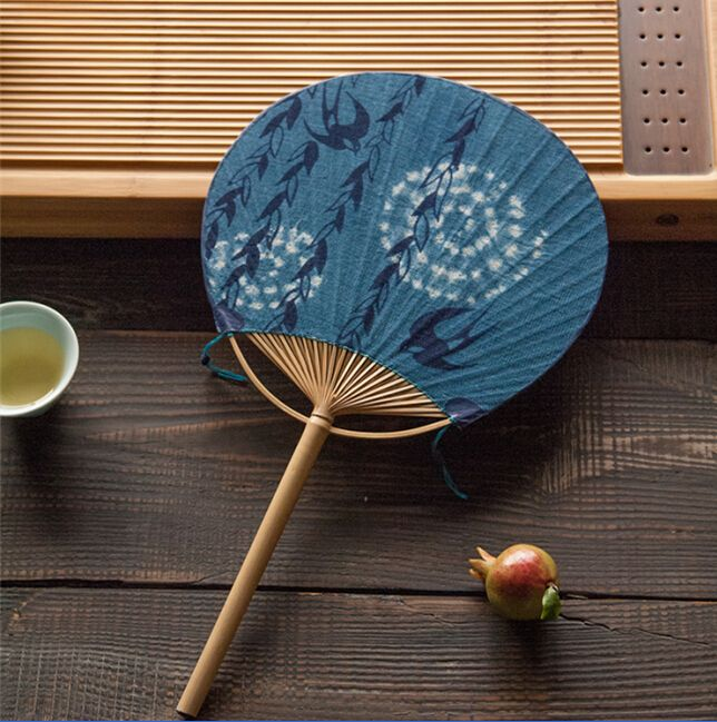Chinese handmade linen circular fan with natural paint