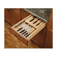 Free up some kitchen counter space by moving your knives into an organized, convenient drawer with two tiers all for your knives! Here: http://www.woodworkerexpress.com/Premium-Wood-Two-Tiered-Cutlery-Drawer-Insert-With-Blum-11199643.html #drawer #cutlery #knives #organization