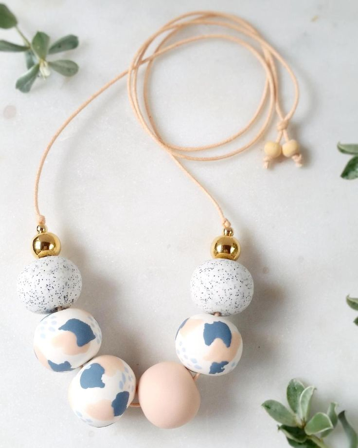 Boutique Jewellery - Blush & Blue BOBBI Necklace hand crafted from polymer clay.
