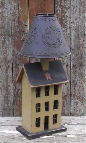 2 in 1 Saltbox House Lamp with Tin Lampshade