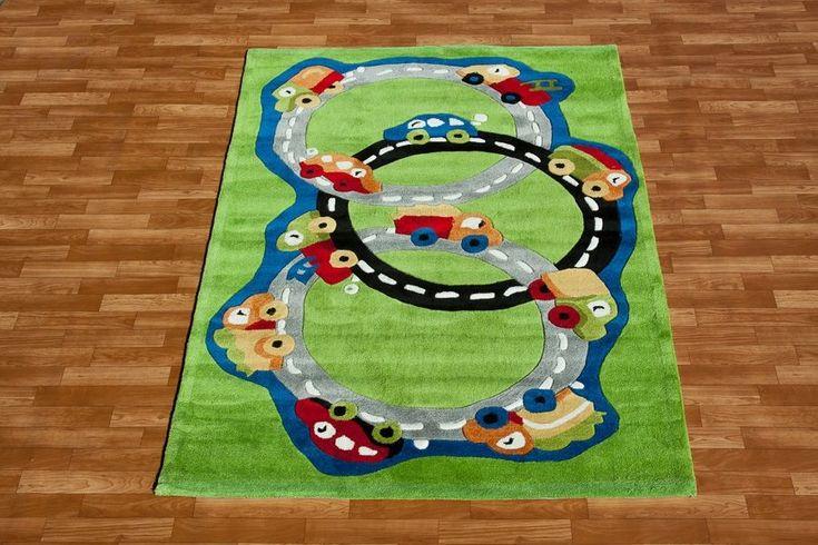 Chłopięce dywany w kolorze zielonym z torem