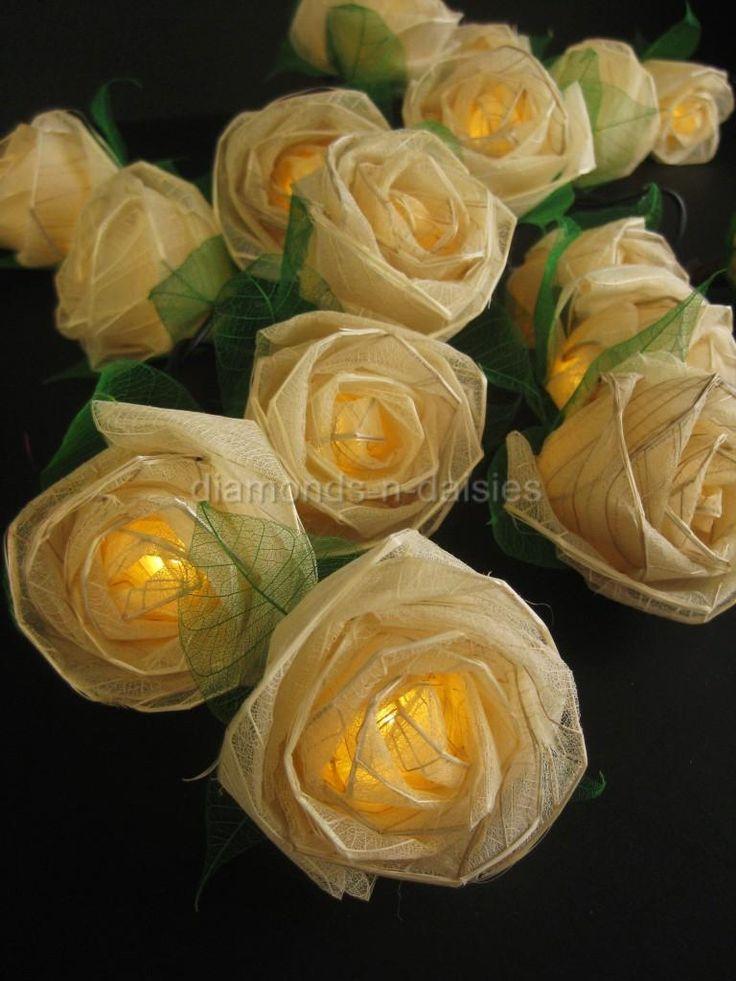 Cream Rose LED String Lights