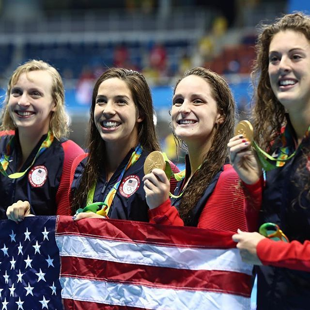 #TeamUSA's #KatieLedecky, Allison Schmitt, Maya DiRado and Leah Smith celebrate winning gold in the women's 4x200-meter freestyle relay. #Rio2016 (📷: Al Bello/Getty Images) #olympics
