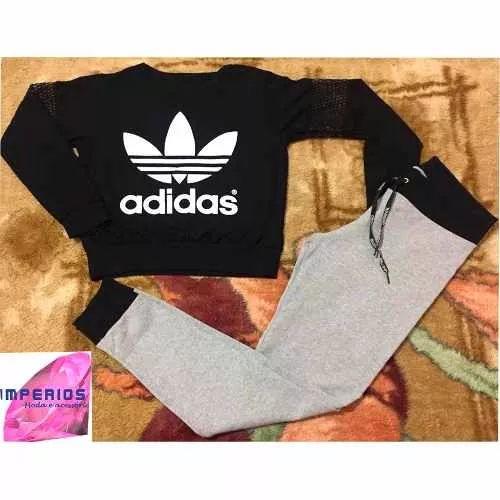 dc0f742c8a8 Conjunto Feminino adidas Cropped Blusa Manga Longa E Calça - R  45 ...