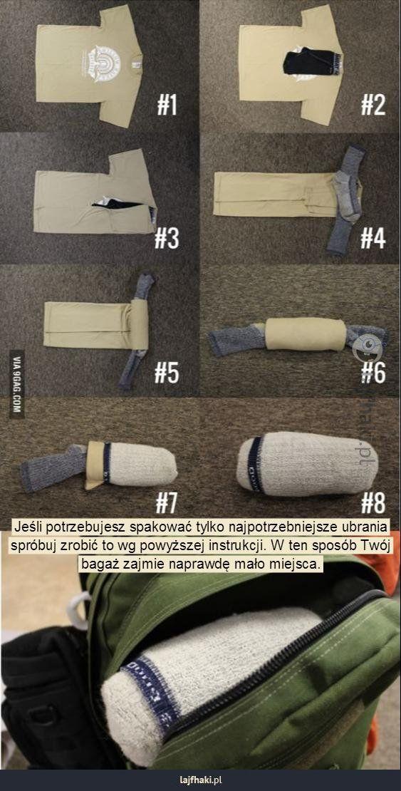 Harcerski sposób na pakowanie - Jeśli potrzebujesz spakować tylko najpotrzebniejsze ubrania spróbuj zrobić to wg powyższej instrukcji. W ten...