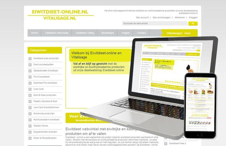 Website eiwitdieet-online. Webdesign, Content Management (Magento), Nieuwsbrief ontwerp, Online marketing.