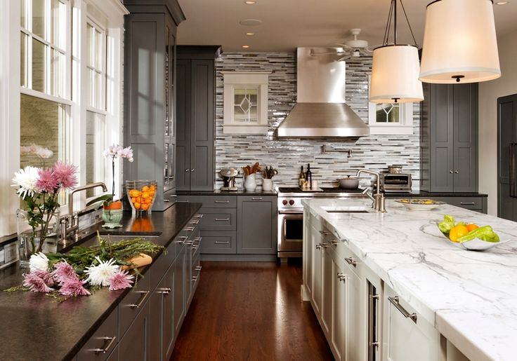 Grey and white kitchen cabinets gray perimeter cabinets for Gray and white kitchen cabinets