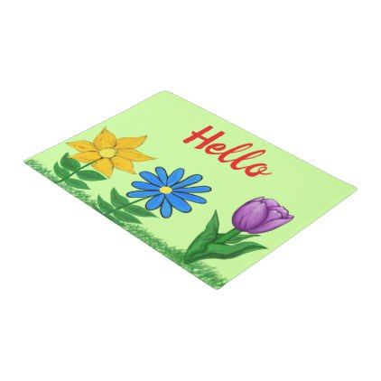 Pretty Floral Garden Green Door Mat - floral style flower flowers stylish diy personalize