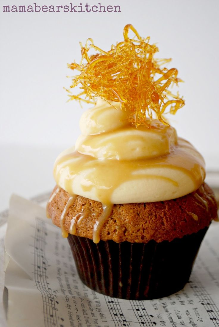Sticky Date Pudding Cupcake with Butterscotch Sauce and Cream Cheese Frosting