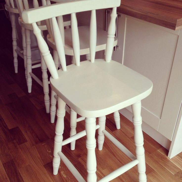 Recently completed set of 4 bar stools, finished in antique white. For other commissions contact fred.nason@hotmail.co.uk