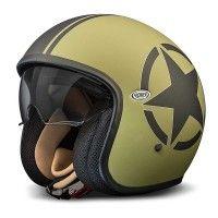 PREMIER = Jet Vintage Helmet, Military Green, Open Face Motorcycle Helmets