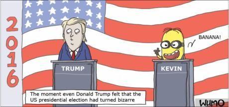 Wahlkampf in den USA.  Mit Blick auf seine Wähler hatte Donald plötzlich ein ganz schlechtes Gefühl ...