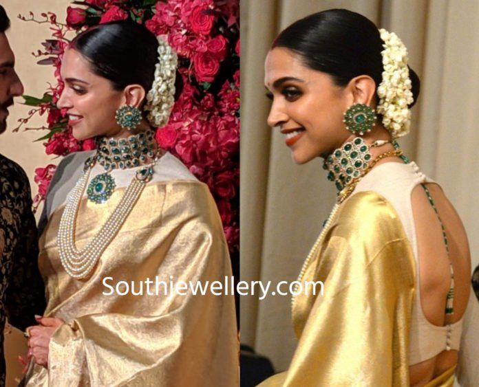 Deepika Padukone Wedding Reception Jewellery Indian Bridal Deepika Padukone Indian Hairstyles