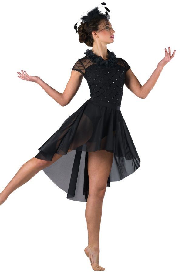 Style# 17384 TWO BLACK CADILLACS Glitter printed flocked black mesh and black spandex leotard. Separate crepe skirt. Ruffle trim. Headpiece included. SC-XXLA