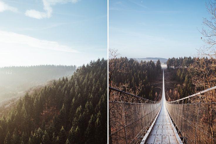 Ausflugsziele mit Deinem Hund. Geierlay Hängeseilbrücke.