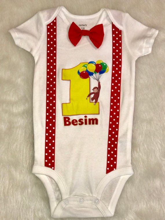 Carious George Red Yellow Suspender Boys First Birthday Shirt