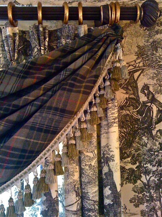 Tartan swag with toile drape and wallpaper