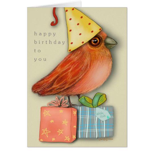 Birthday Bird Sitting on Presents (Blank Inside) Card
