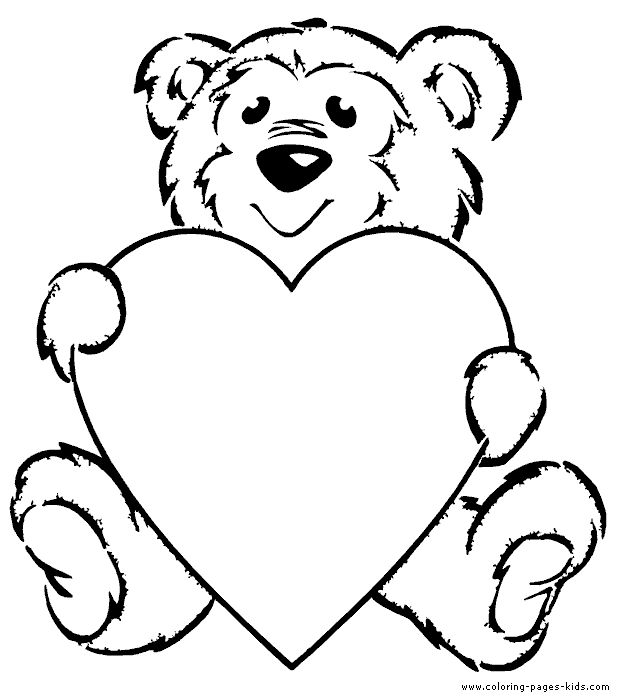 Teddy Bear With A Heart Color Page Coloring Page