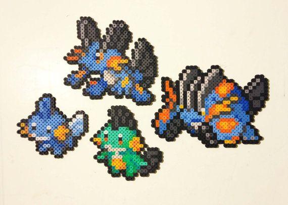Mudkip | Marshtomp | Swampert | Mega Swampert | Pokemon | Perler Bead | 8bit | Nintendo | Sprite |