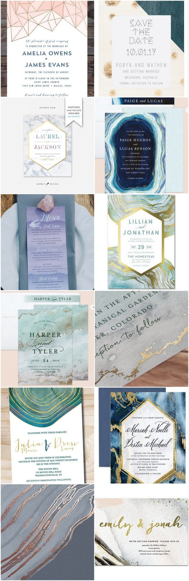 15 Geode Agate and Crystal Wedding Invitations to Rock Your World!  Combining a number of gorgeous design elements including water-colours, gold foil and geometric details, these wedding invitations are very likely to hit the spot! http://www.confettidaydreams.com/geode-agate-and-crystal-wedding-invitations/