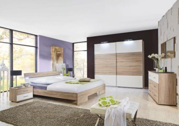 """""""Trendiges Komplett-Schlafzimmer in Eiche-sägerauh-Nachbildung und Absetzungen in Kunststoff Alpinweiß. Das Zimmer besteht aus: Einem Schwebetürenschrank 2-trg, ca. 225/210/65 cm, einem Doppelbett inkl. Beleuchtung, ca. 189/62/210 cm und 2 Nachtkommoden mit je 2 Schubladen, ca. 52/40/38 cm. Passende Beimöbel, Matratzen und Lattenroste sind gegen Mehrpreis erhältlich."""""""