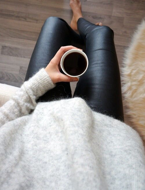Black patent leggings and a grey wool/cashmere/angora sweater - Nothing like this relaxed but put together look. It doesn't get old. (CD)