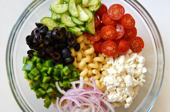Greek Pasta Salad with Red Wine Vinaigrette | Just a Taste