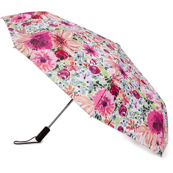 Kate Spade New York Dahlia Travel Umbrella ($48) ❤ liked on Polyvore featuring accessories, umbrellas, pink multi, floral umbrella, kate spade, pink umbrella, kate spade umbrella and travel umbrella