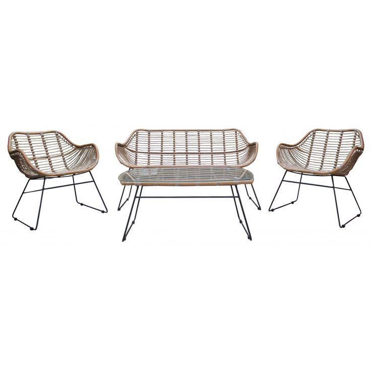 Birka konstrotting lounge set med soffa, två fåtöljer och soffbord :: Utemöbler och Trädgårdsmöbler, Utemöbler och Trädgårdsmöbler > Konstrotting, REA, REA > Utemöbler