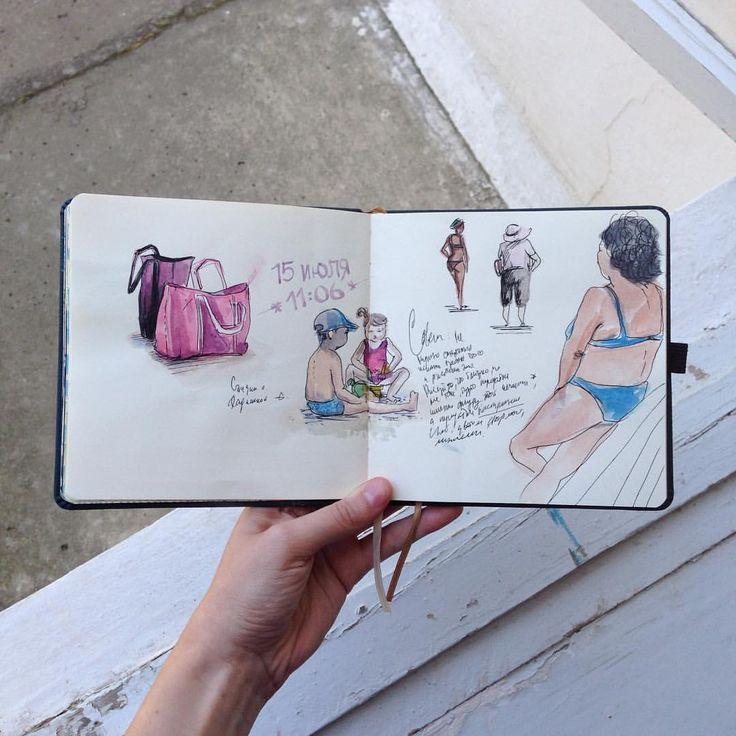 168 отметок «Нравится», 6 комментариев — artist • illustrator (@o.sally) в Instagram: «Кажется я хожу на пляж не для того, чтобы загореть или поплавать на море, а ради бесплатных…»