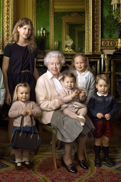 To celebrate the Queen's 90th birthday, a series of new royal portraits are released, in which Annie Leibovitz captures Her Majesty with members of her family. She is pictured here with some of her grandchildren and great grandchildren