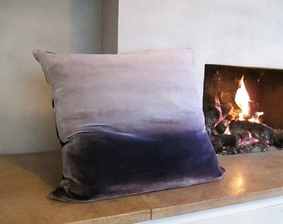 "Ombre painted velvet large cushion cover  25.5"" (65cm) square on Etsy, $255.94"