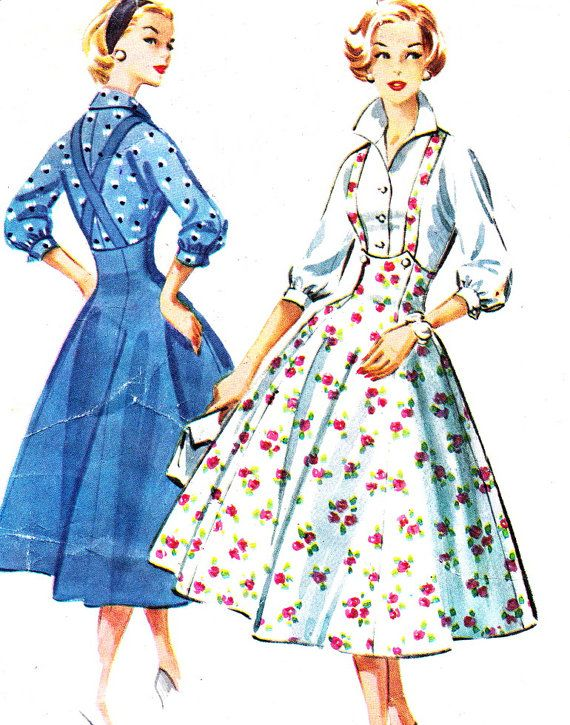 Vintage Sewing Pattern 1950s McCalls 4148 Suspender Dress Jumper Dress Pinafore Dress Full Skirt Front Button Blouse Size 16 Bust 36