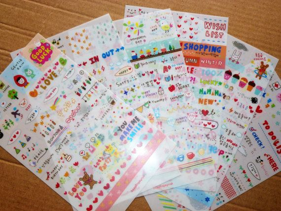 cute Korea Stickers for Diary  6 Sheet by AzraelWest on Etsy