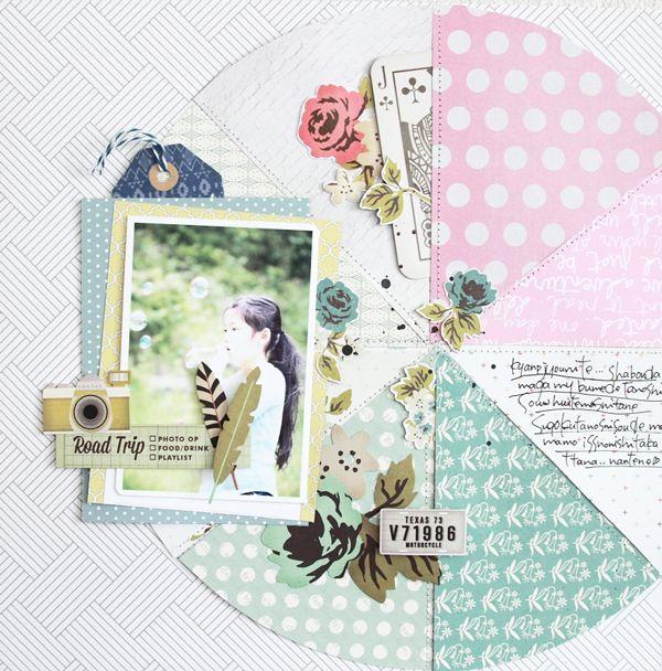 #papercraft #Scrapbook #layout. Michiko Kato #layout for @gossamerbluekit // via #gossamerblue