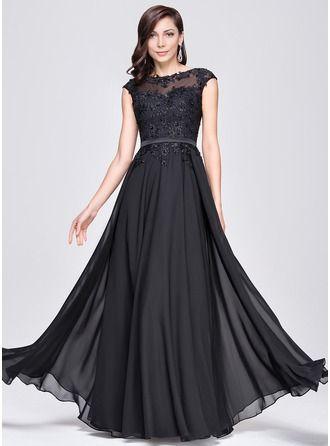 Vestidos princesa/ Formato A Decote redondo Longos De chiffon Vestido de festa com Bordado Apliques de Renda Lantejoulas