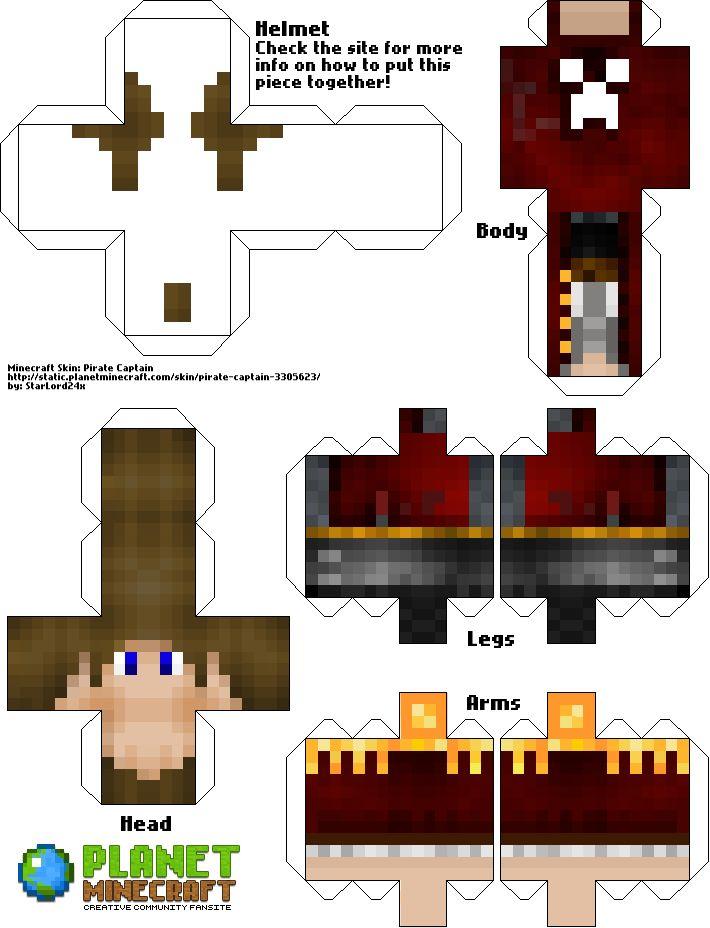 My Pirate Captain Skin on Minecraft. | Papercraft ...  My Pirate Capta...
