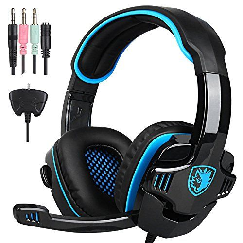[2016 New Version] GHB SADES SA-708GT Gaming headset Gaming Headphone with Microphone For PS4/Xbox 360 /PC /Laptop/ Cellphone Black Blue