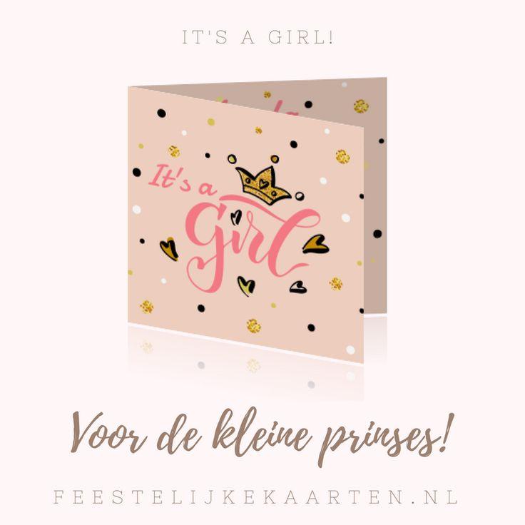 Hippe geboortekaartjes bestellen voor een dochter. Een originele kaart voor een kraamfeest of babyshower met confetti in feestelijk roze en goud.