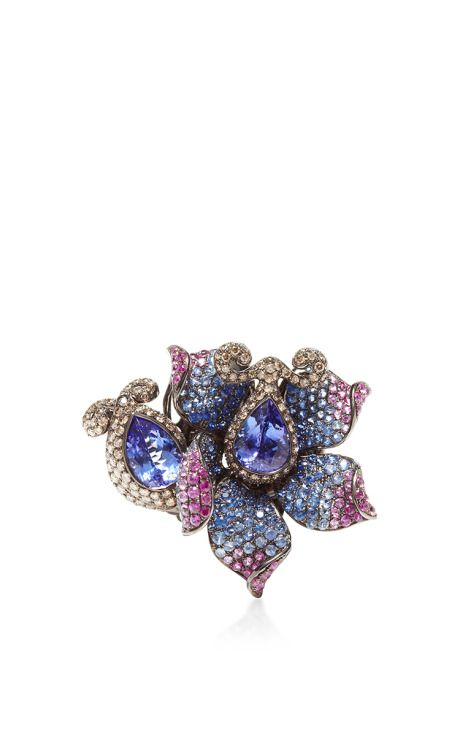 Flower Multi Colored Ring with diamonds, sapphires, and tanzanite set in 18k White Gold by Wendy Yue - Resort 2015 (=)