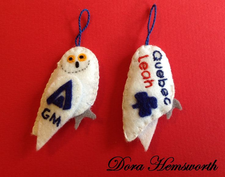 Hand sewn and embroidered Snowy Owls for Guiding Mosaic 2016. Swaps. Girl Guides of Canada. http://www.guidingmosaic.com/web/