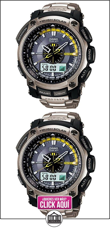 CASIO Pro Trek PRW-5000T-7ER - Reloj de caballero de cuarzo, correa de titanio color plata  ✿ Relojes para hombre - (Gama media/alta) ✿ ▬► Ver oferta: https://comprar.io/goto/B0039UT5TA