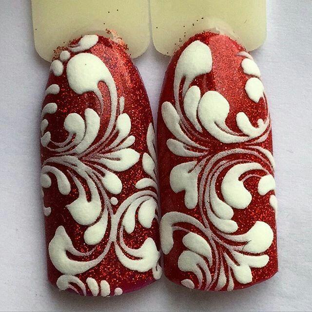 Red, sparkle, white design, flourish, scroll, pair